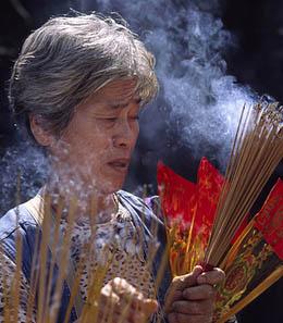 Incense burning smoke