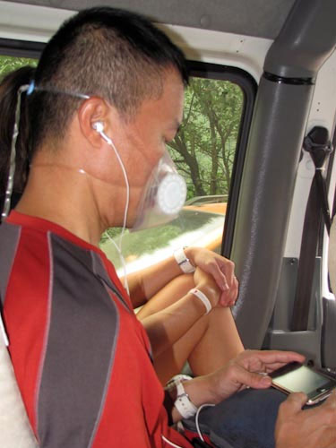 Kenneth using Totobobo mask in a bus in China
