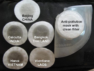 Polluants collectés par les filtres en provenance de Chine et d'Inde