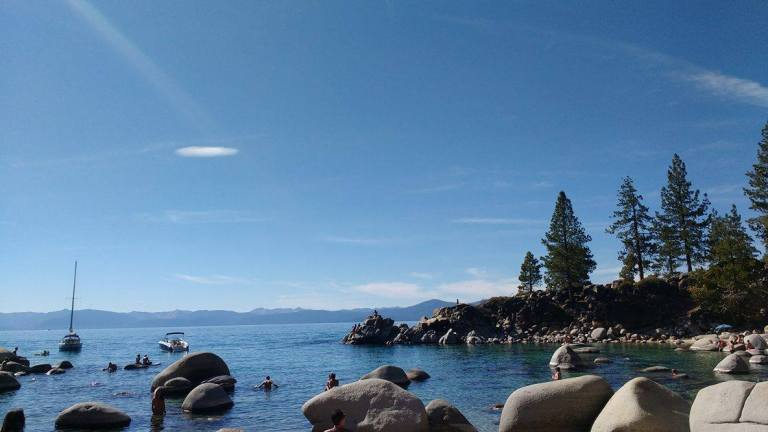 Lake Tahoe Secret Cove beach, along East Lake Tahoe, for Ellen Blazer's travel blog To Travel and Bloom