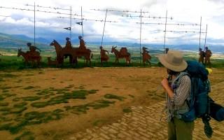Me hiking El Camino de Santiago at an overlook between Pamplona and Puente la Reina, for Ellen Blazer's travel blog To Travel and Bloom