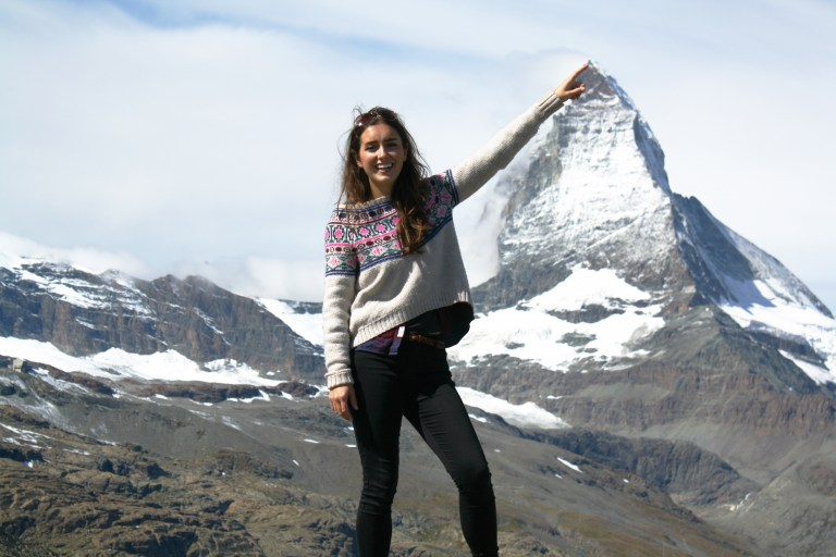 Me exploring the hiking trails of the Matterhorn, for Ellen Blazer's travel blog To Travel and Bloom
