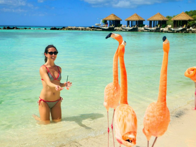 Ellen and flamingos of Flamingo Beach, Renaissance Island, Aruba for Ellen Blazer's travel blog To Travel and Bloom