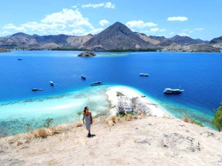 Hiking to the top of Kelor Island in Komodo National Park of Labuan Bajo, Flores, Indonesia