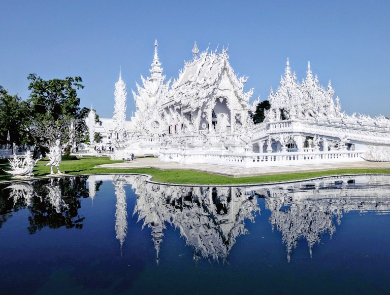 Wat Rong Khun, the White Temple of Chiang Rai, Thailand for Ellen Blazer's travel blog To Travel and Bloom
