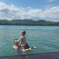 Swimming with Tots in Lake Banyoles, Catalonia, Spain