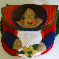 Knitted Matroushka Doll Backpack, bag and keychain pattern