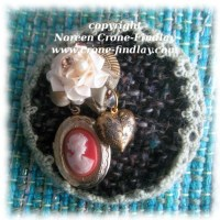 Steampunk Brooch with woven fabric and an upcycled juice can lid