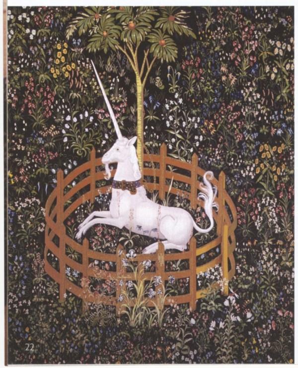 Unicorn in Captivity tapestry