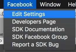 Facebook - Edit Settings 메뉴 선택