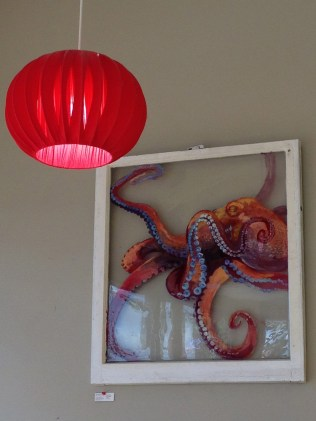 Red Lamp Bonnet and Octopus on Glass