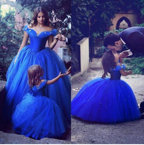 New Royal Blue Cinderella Girls Dress Flower Girl Dresses for Wedding Tulle Beading Princess Children Party Ball Gown|cinderella girls dresses|girls dressgirl dresses for weddings - AliExpress