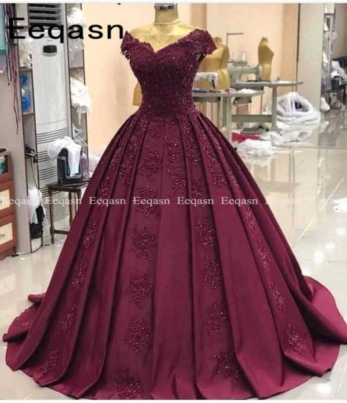 Elegant Robe de soiree 2020 Sexy Cap Sleeves Lace Evening Dress For Party  Gown Burgundy Long Prom Dress gala jurk|Prom Dresses| - AliExpress