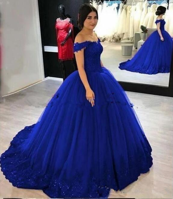 2020 Royal Blue Cinderella Sweet 16 Quinceanera Dresses Ball Gown Off Shoulder Sequined Ruffles Tulle Masquerade Debutante Lace Up Prom Gown From Magicweddingdresses, $143.82 | DHgate.Com