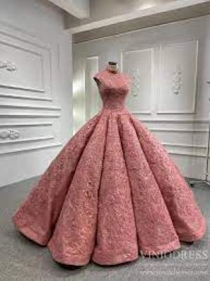 High Neck Vintage Lace Ball Gown Prom Dresses Rose Pink Quince Dress F –  Viniodress