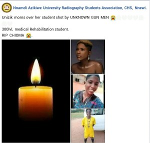 UNIZIK Student Dies After Being Hit By Stray Bullet