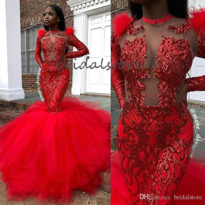 Elegant Red Mermaid Prom Dresses For Black Girls Long Sleeves Tight Prom  Dress Illusion Sequins Trumpet Formal Evening Gowns 2020 African From  Bridalstore, $132.72 | DHgate.Com