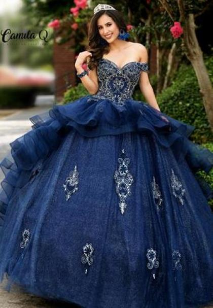 Camila Q Quinceanera Dress 1008 Off Shoulder Ruffle Ballgown Embellish – Glass Slipper Formals