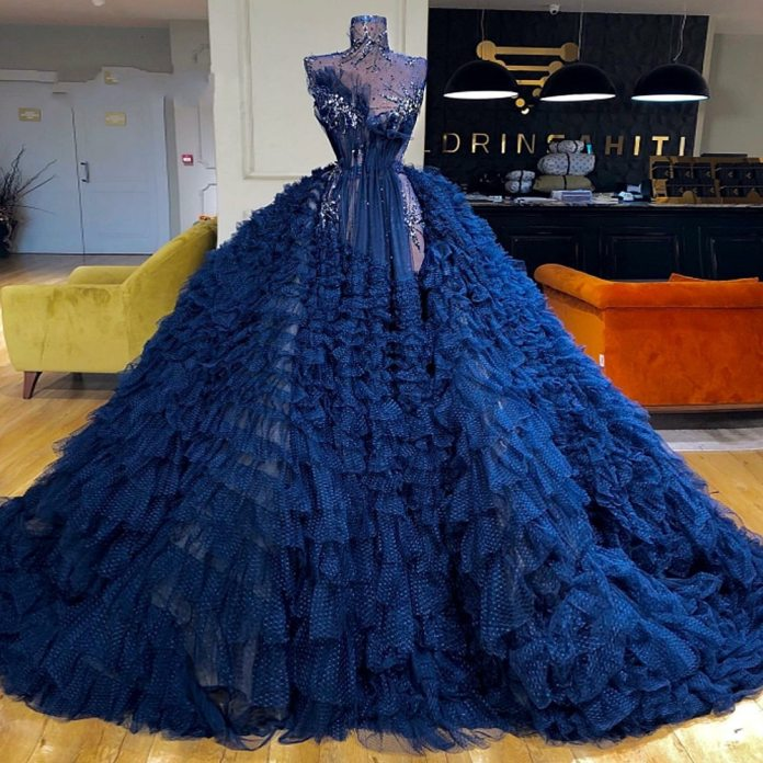 Navy Blue Ball Gown Prom Dresses Sexy Illusion High Neck Glitter Crystal  Prom Dress Tiered Skirts Tulle robe de soiree|Prom Dresses| - AliExpress