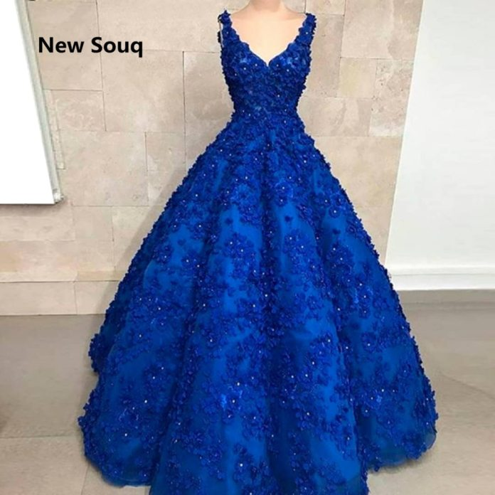 Royal Blue Ball Gown Quinceanera Dresses with 3D Flowers Crystal Sweet 16 Dresses 2019 Custom Made Long Prom Dress|Quinceanera Dresses| - AliExpress