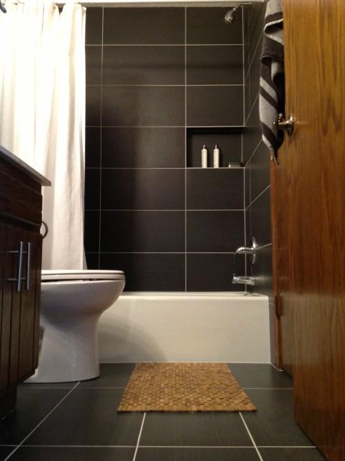12x24 porcelain tile bathroom installation in Blaine, MN