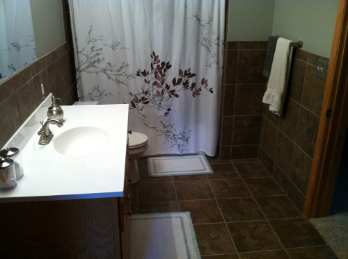 Porcelain tile floor and shower installation in Andover, MN