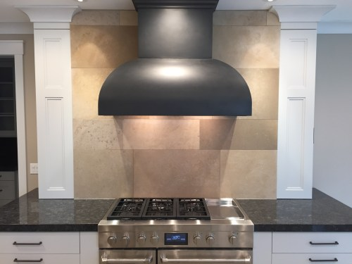 Stone kitchen backsplash tile installation