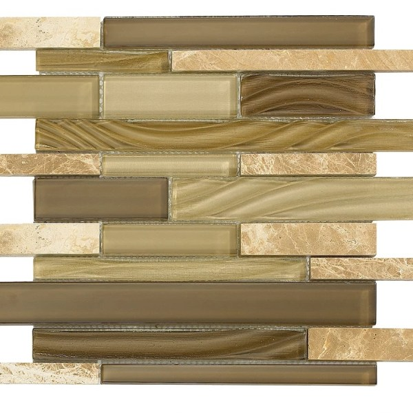 Synergy glass and stone wood look mosaic