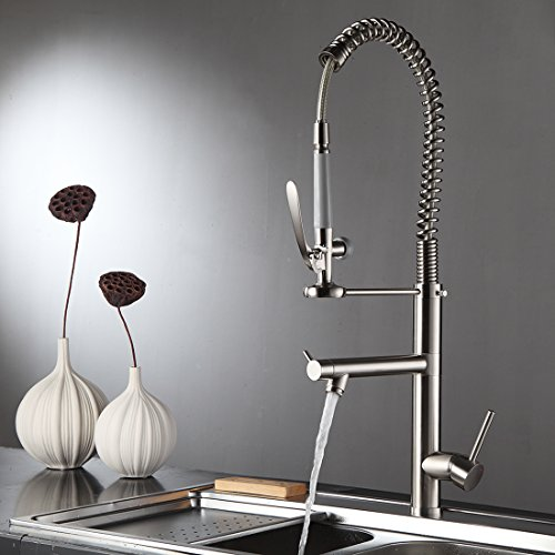 Fapully Kitchen Faucet with Pull Out Sprayer Head,Soild Brass Kitchen Sink Tap Brushed Nickel