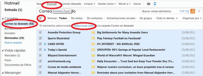 borrar correo electronico hotmail