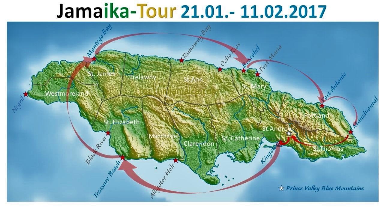 Jamaika-Tour 2017: Montego Bay -> Boscobel -> Port Antonio -> Manchioneal -> Blue Mountains -> Kingston -> Treasure Beach -> Montego Bay