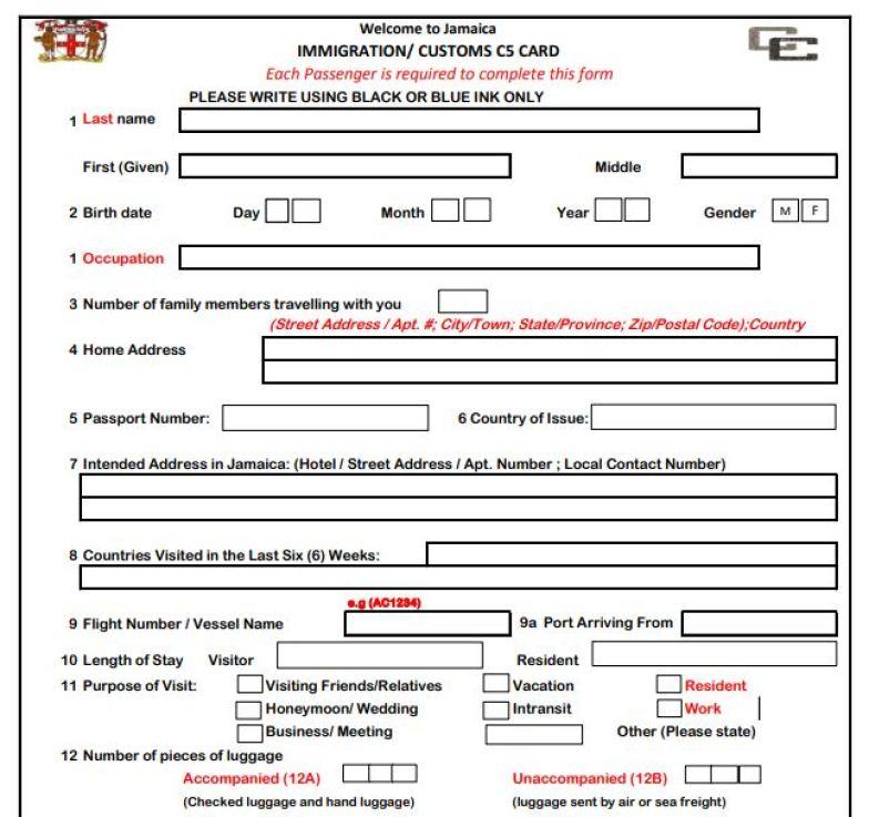 Immigration and Custom Form C 5 Jamaica