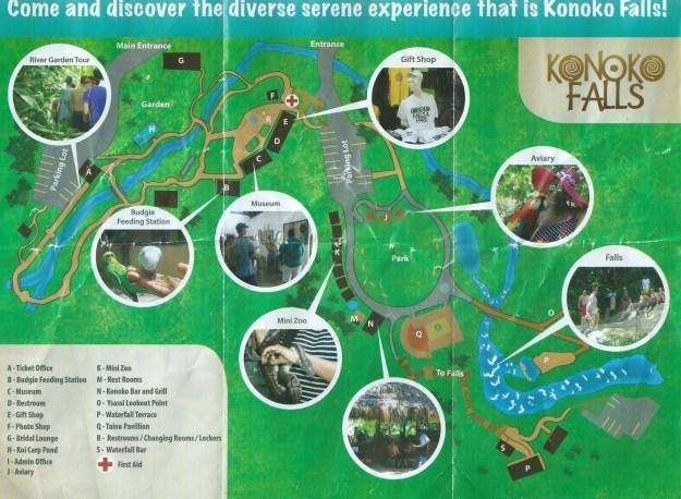 Übersichtskarte der Konoko Falls and Park in Ocho Rios auf Jamaika.