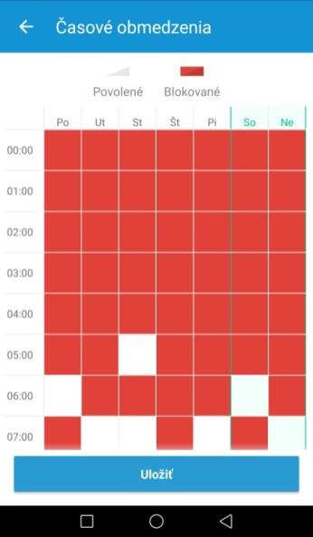 Definovanie času, kedy sa môže telefón používať na zábavu