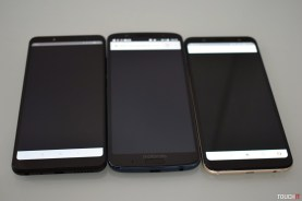Naľavo Xiaomi Redmi Note 5, v strede Moto G6 Plus, napravo Samsung Galaxy A6+