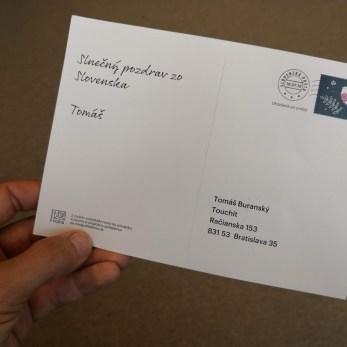 Zadná strana pohľadnice, ktorá bola doručená