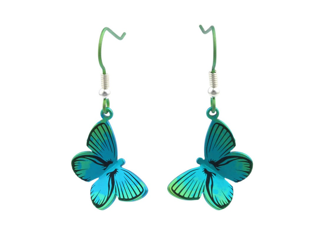 Butterfly drops on TouchTitanium.com Brighten up your outfit with our vibrant titanium butterfly drops. Handmade and coloured for incredible vibrancy and lasting quality. Titanium hooks feature small silver details. Exclusively available in a small range of colours. Hypoallergenic and safe to wear for all skin types.