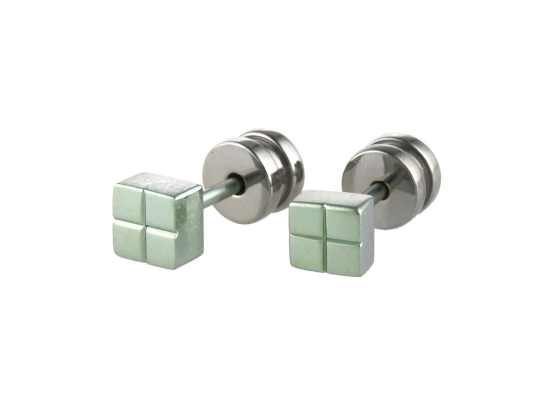 Square cross studs on TouchTitanium.com Measuring 3mm depth and 5mm square, these studs are simple and enticing. Easy to wear with comfortable titanium clasps and a completely hypoallergenic offering. Perfect, whatever your skin type.