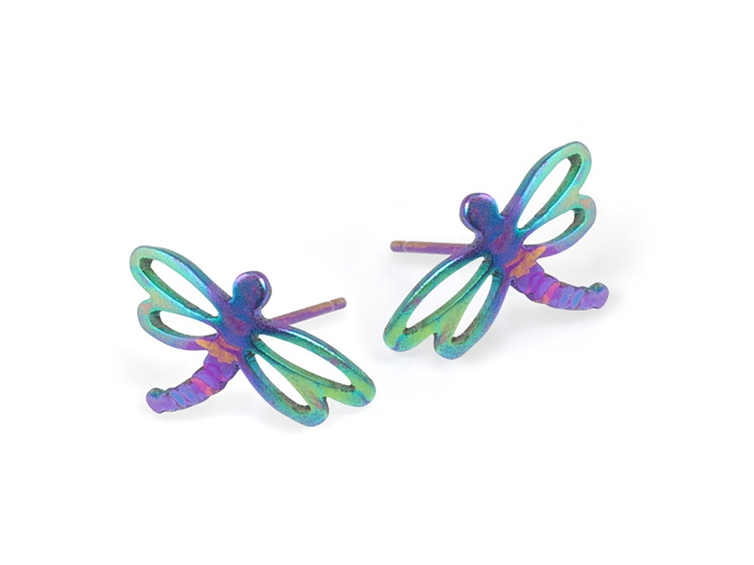 Dragonfly studs on TouchTitanium.com Beautiful, elegant and vibrant, the dragonfly studs are perfect for wearing every day. Stamped and hand finished from titanium with a set of titanium butterfly clasps. Exclusively available in etched titanium rainbow pattern. Each one is unique.