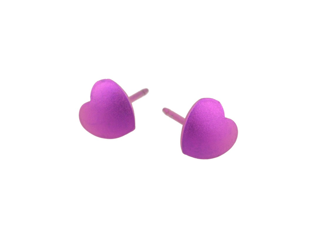 Pink love heart earrings made from hypoallergenic titanium.