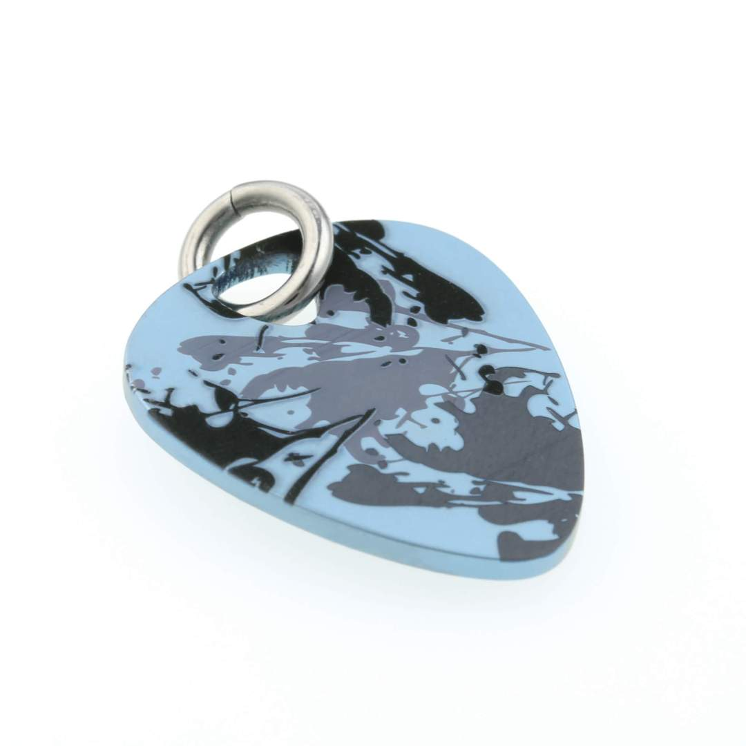 Titanium plectrum necklace on TouchTitanium.com Comfortable titanium plectrum necklace. The perfect gift for guitar enthusiasts or hypoallergenic jewellery fans.