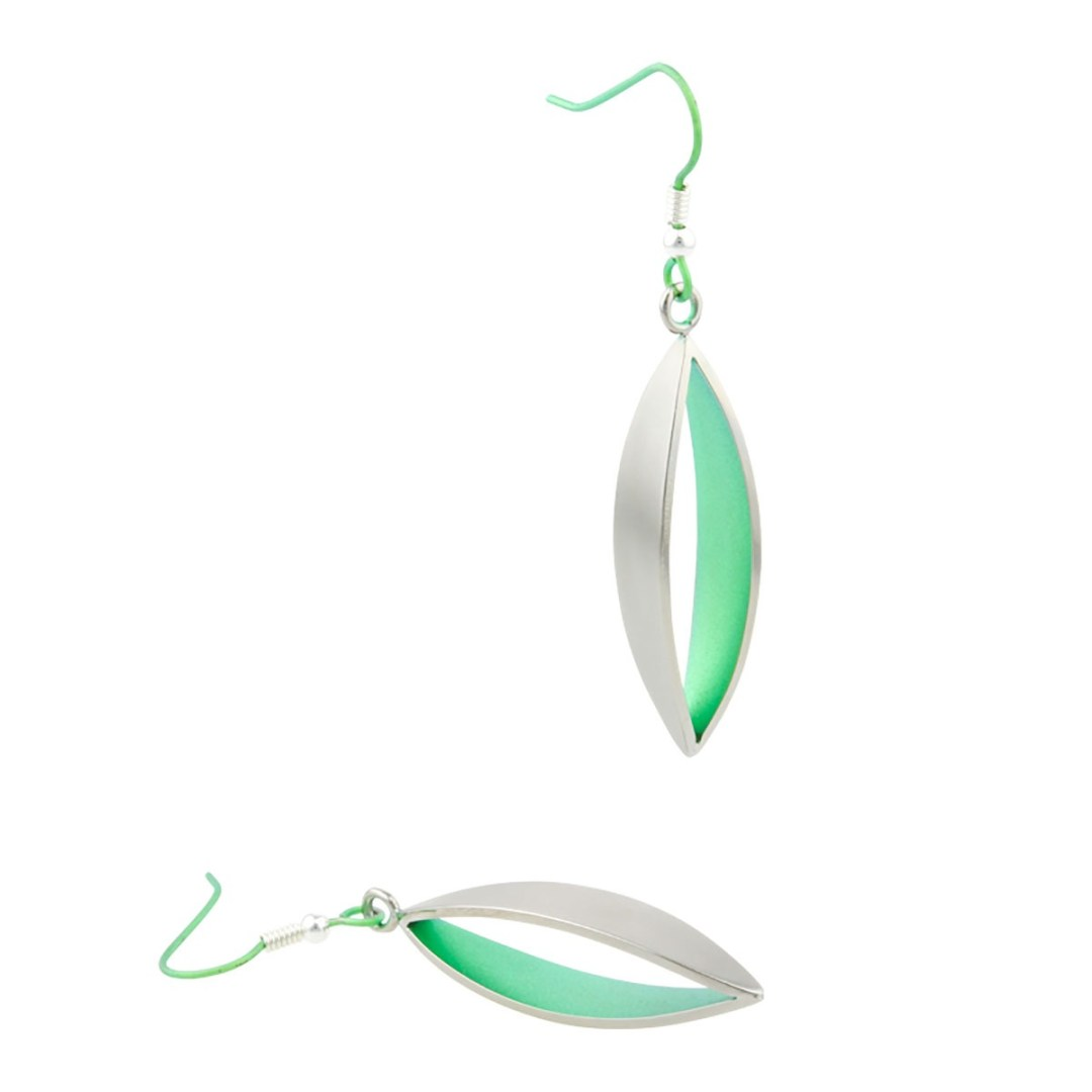 Leaf drop earrings on TouchTitanium.com <p>Impressive, unusual, and effortlessly elegant. 100% hypoallergenic leaf drop earrings are handmade from titanium and available in a range of colours. Light and comfortable.</p>