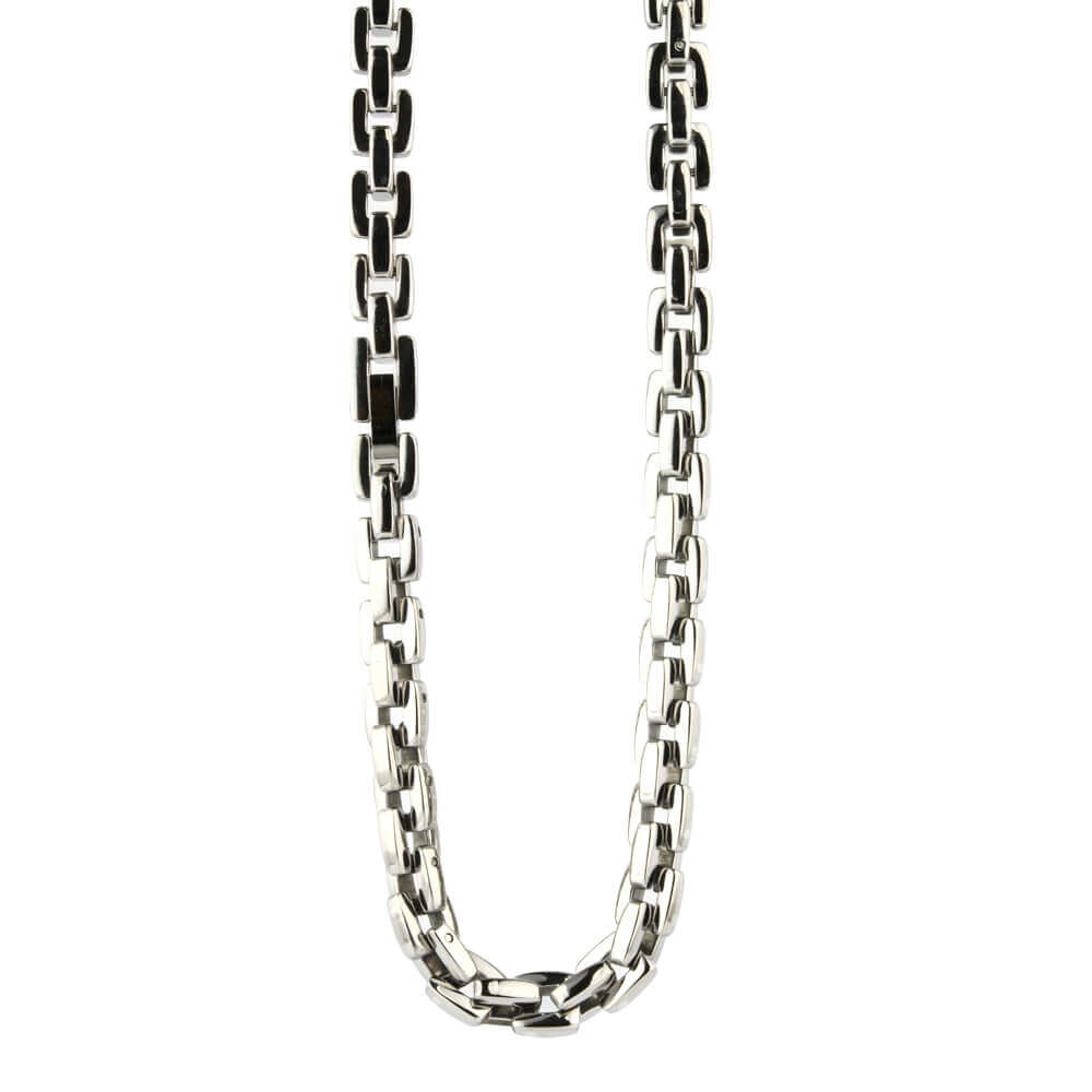 Titanium executive chain necklace on TouchTitanium.com Unique hypoallergenic titanium chain. Get noticed with this iconic and stylish titanium chain. Available in a range of sizes. Made to order. Our chains are designed to fit in with your lifestyle.