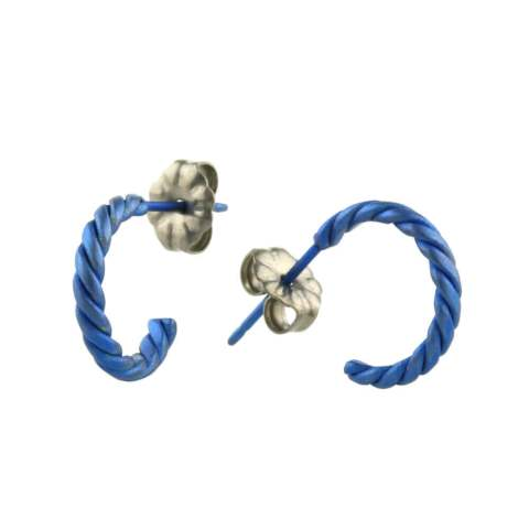 Blue Hypoallergenic titanium hoop earrings