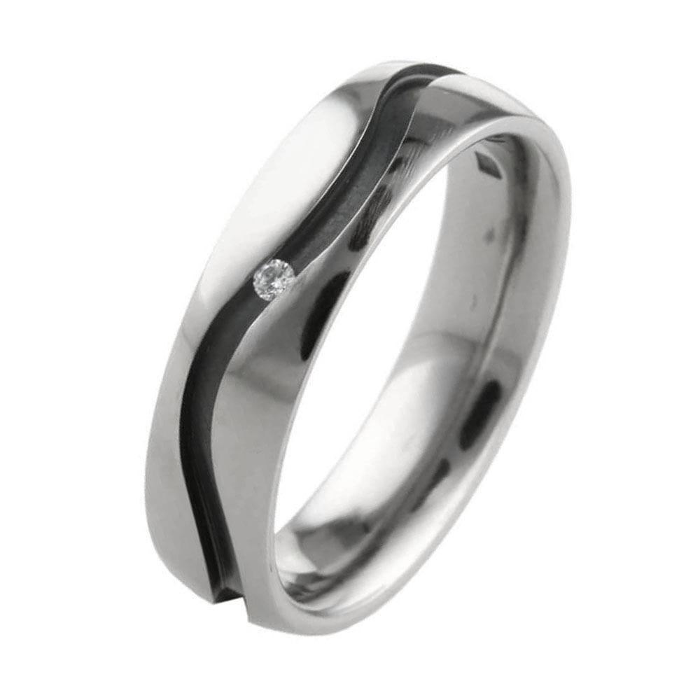 Black hypoallergenic titanium wedding ring