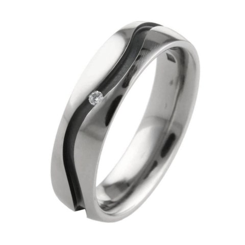 Black hypoallergenic titanium wedding ring