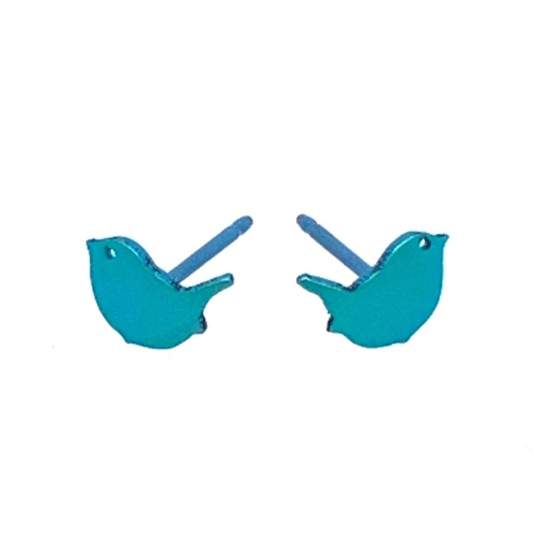 Electric blue Titanium bird studs. Hypoallergenic jewellery from TouchTitanium.com
