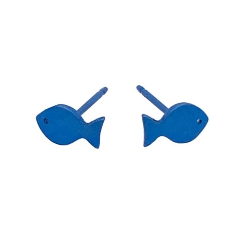 Navy blue Titanium fish studs. Hypoallergenic jewellery from TouchTitanium.com