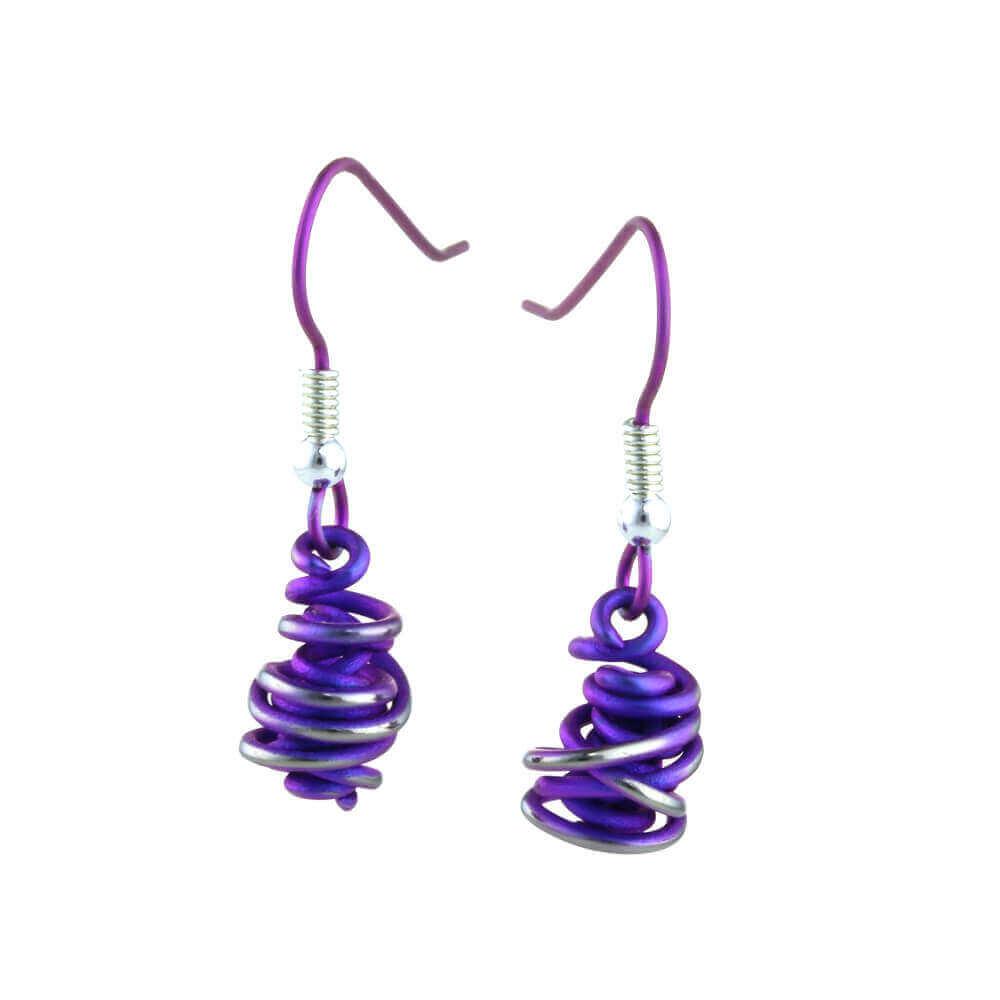 Purple titanium drop earrings.