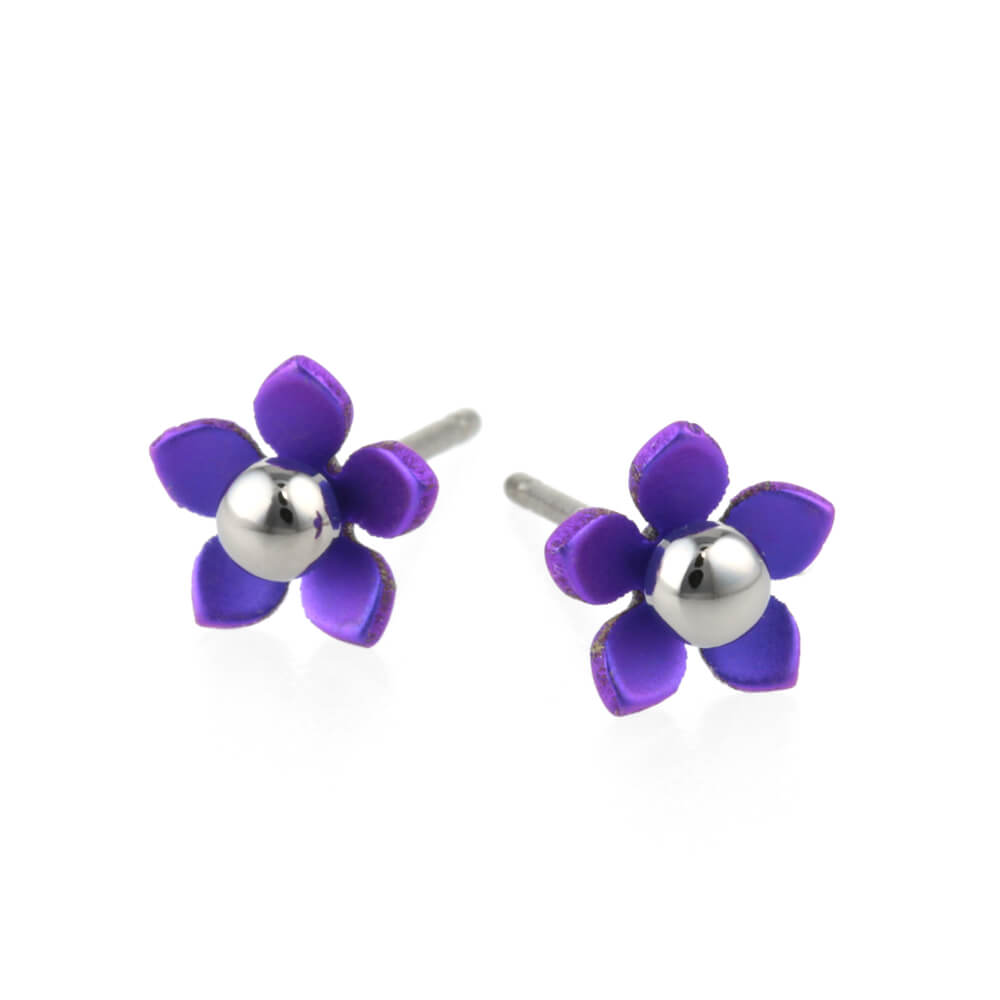 Purple titanium flower stud earrings.